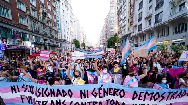 Cientos de personas durante una manifestación centrada en el colectivo trans en Madrid.