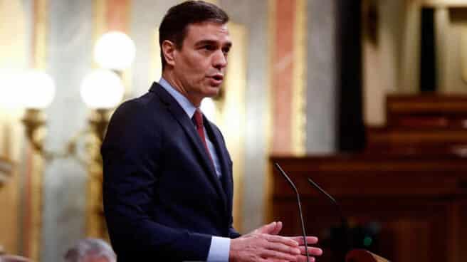 Fotografía del presidente del Gobierno, Pedro Sánchez, interviniendo en el Congreso de los Diputados.