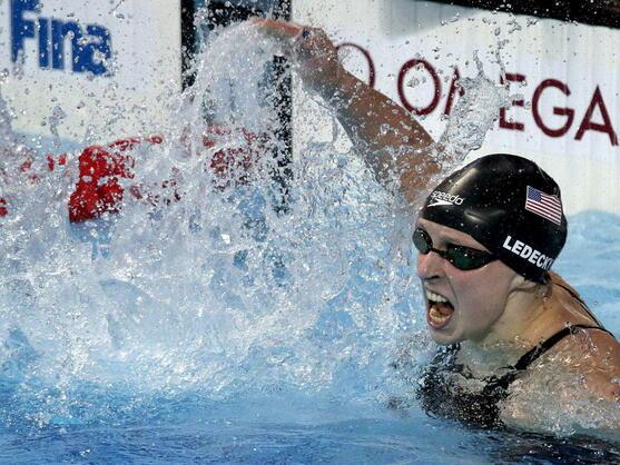 La nadadora estadounidense Katie Ledecky