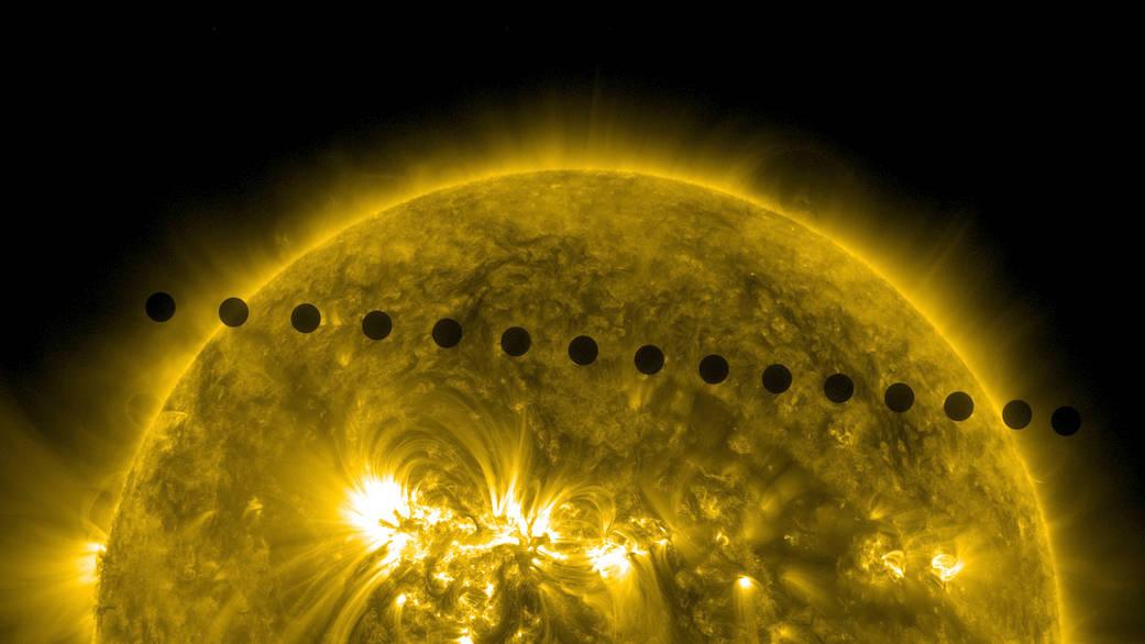 Secuencia de imágenes tomadas por el telescopio Solar Dynamics Observatory sobre el Tránsito de Venus