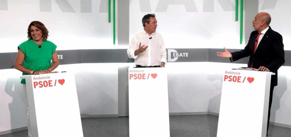 Los tres candidatos socialistas a la Presidencia de la Junta de Andalucía Susana Díaz, Juan Espadas y Luis Ángel Hierro, durante el debate de este martes