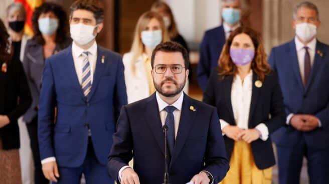 Pere Aragonès comparece junto al resto del Govern para valorar los indultos.