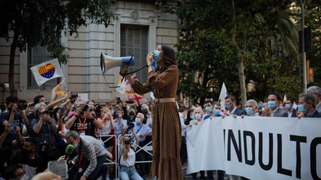 La líder de Ciudadanos, Inés Arrimadas, durante una concentración convocada por Ciudadanos