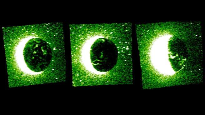 Secuencia de auroras discretas captada por la misión emiratí en Marte