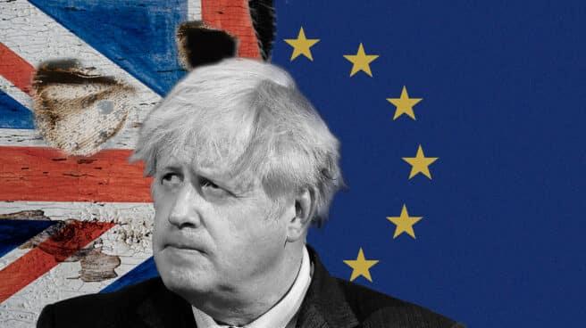 Imagen de Boris Jonson con la bandera detrás de Inglaterra y la de Europa