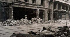 Imagen de la Calle Mayor a la altura del número 4 durante la Guerra Civil