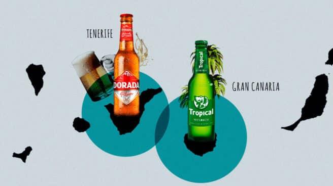 Imagen de las dos cervezas que triunfan en Canarias, Dorada y Tropical