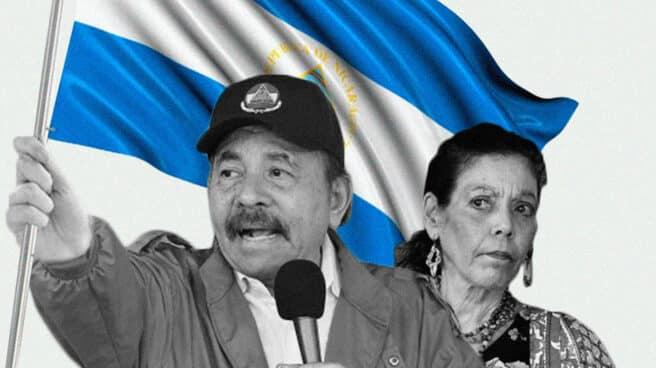 Imagen de Daniel Ortega y Rosario Murillo con una bandera de Nicaragua
