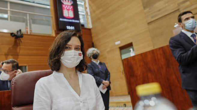 Isabel Díaz Ayuso, durante su investidura en la Asamblea de Madrid.