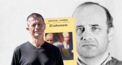 Imagen del autor Emmanuel Carrère, junto con su libro El adversario y la imagen del asesino que lo inspiró