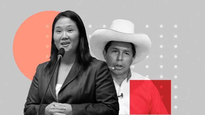 Imagen de los candidatos electorales en Perú keiko Fujimori y Pedro Castillo