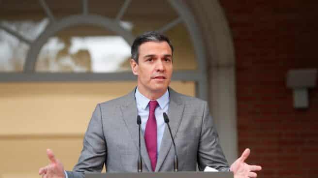 El presidente del Gobierno, Pedro Sánchez, durante el anuncio de los indultos en el Palacio de la Moncloa.