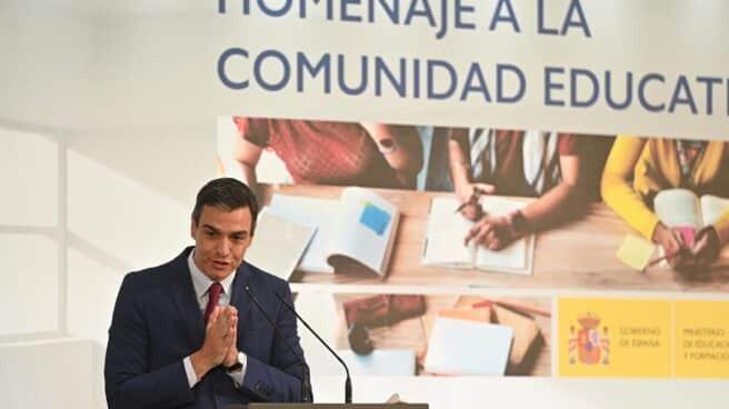 Pedro Sánchez, en un acto en Moncloa.