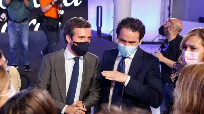 El presidente del PP, Pablo Casado; y el secretario general, Teodoro García Egea