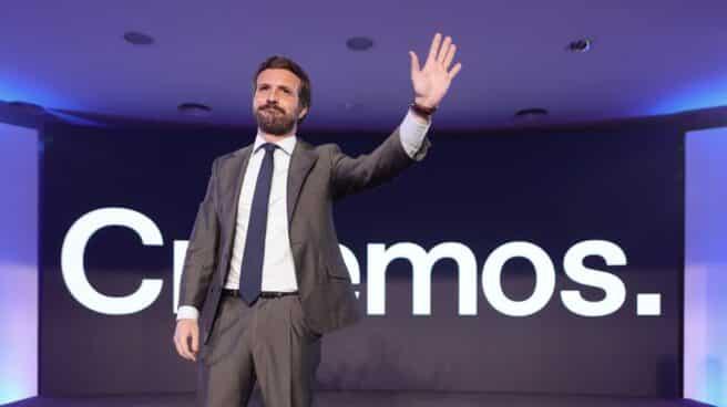 El líder del PP, Pablo Casado, en el acto de presentación de la Convención Nacional de octubre.
