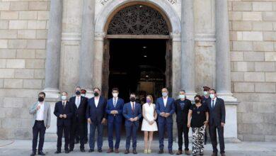 """""""Vuestra libertad nos hace más fuertes"""" dice Aragonès al homenajear a los presos en el Palau"""
