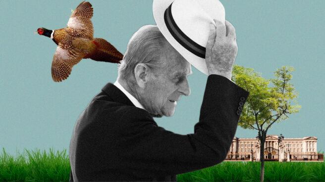Imagen del Príncipe Felipe de Edimburgo con un Faisán volando y el palacio de Buckingham