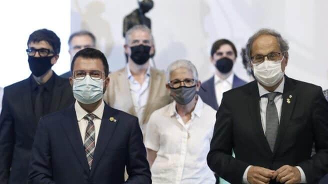 Quim Torra, junto a Pere Aragonés en un acto del Govern.