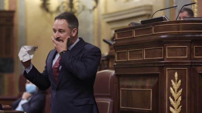 El líder de Vox, Santiago Abascal, en el Congreso.