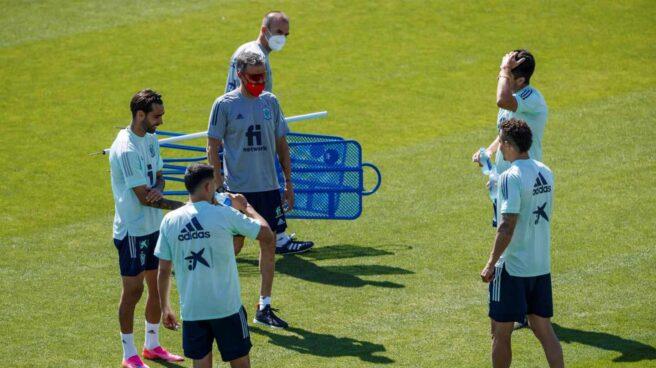 Entrenamiento de la 'burbuja paralela' de la selección española de fútbol.