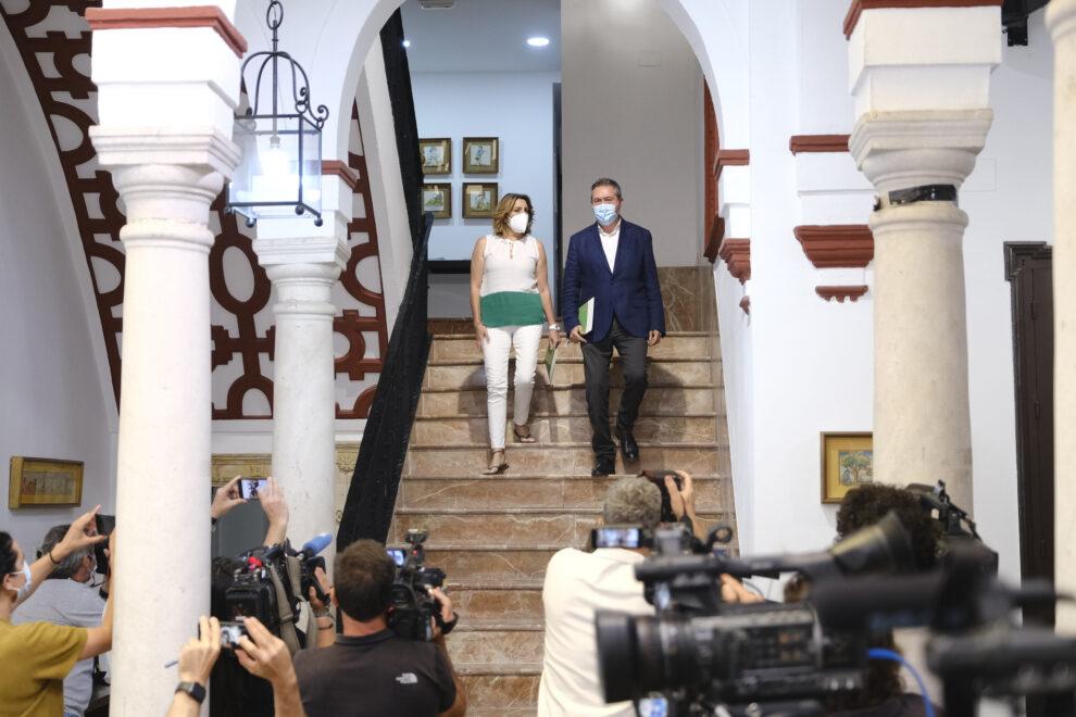 Espadas y Díaz en la sede regional del PSOE-A