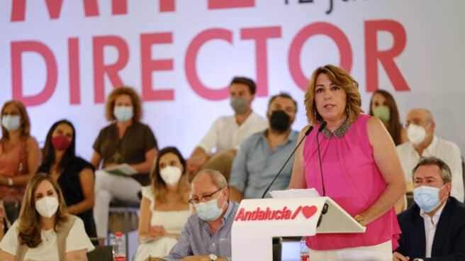 Susana Díaz interviene ayer lunes en el comité director del PSOE andaluz