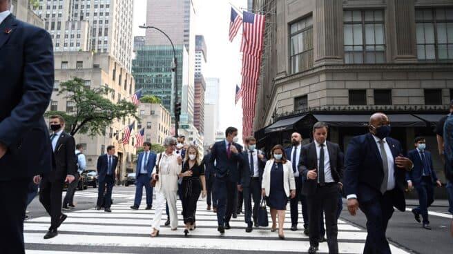 Pedro Sánchez pasea por Nueva York.