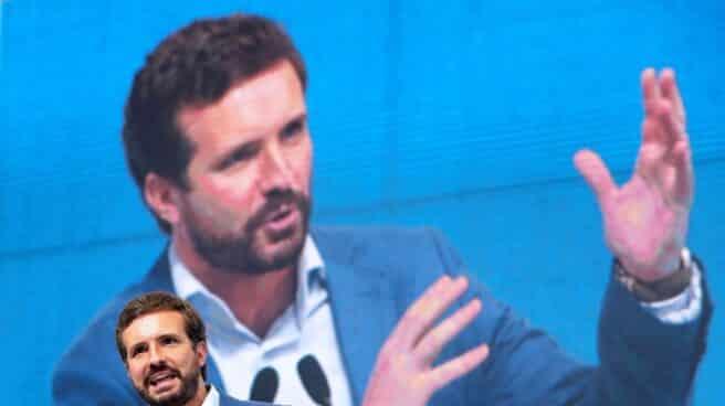 El líder del Partido Popular, Pablo Casado, clausura el último congreso del PP de Galicia.