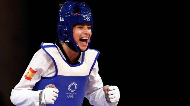Adriana Cerezo, tras clasificarse para la final de taekwondo.