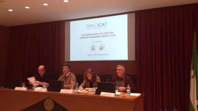 Carmen Calvo, en la jornada organizada por Diplocat en Sevilla.