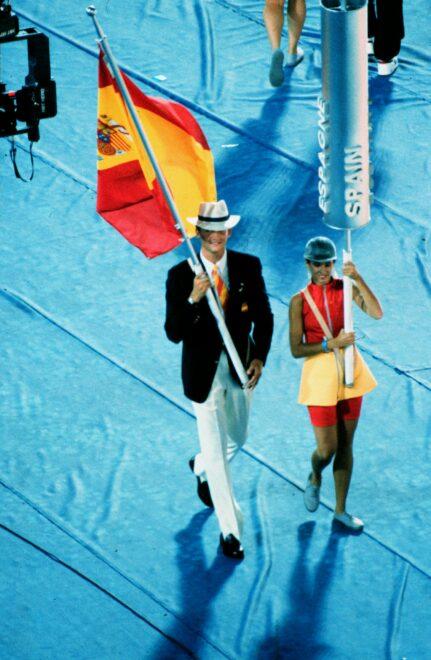 El Rey Felipe VI como abanderado del Equipo Olímpoco Español en los Juegos Olímpicos de Barcelona 92.