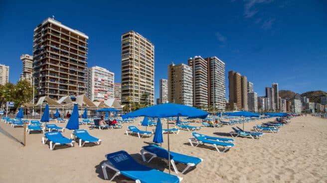 Sombrillas y tumbonas en la Playa de Levante de Benidorm.