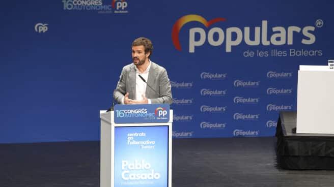 El presidente del PP, Pablo Casado, durante el XVI congreso del PP de Baleares