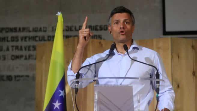 Leopoldo López, disidente venezolano, en rueda de prensa en Madrid