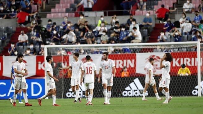 Los jugador de la selección española de fútbol durante su encuentro amistoso contra Japón como preparación para los Juegos Olímpicos de Tokio 2020