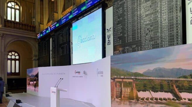Imagen de la Bolsa de Madrid en el estreno bursátil de Acciona Energía este 1 de julio
