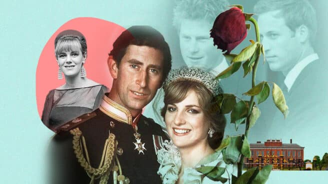Collage de El príncipe Carlos de Inglaterra con Lady Di el día de su boda y de fondo Camilla Parker Bowles y sus hijos Harry y Guillermo de Cambridge
