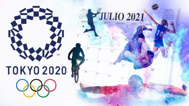 Cartel oficial de los Juegos Olímpicos de Tokio 2020 celebrados en 2021