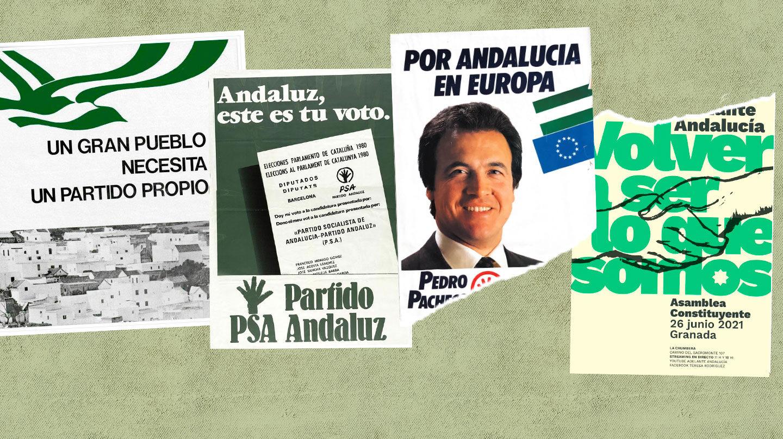Evolución de los carteles del nacionalismo andaluz, del PSA a Adelante Andalucía