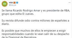 """Asociaciones de periodistas condenan el """"señalamiento"""" de Vox al editor de 'El Jueves'"""