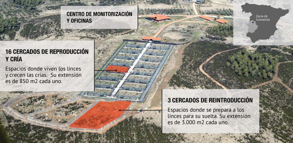 Vista aerea del centro de cría de lince Zarza de Granadilla