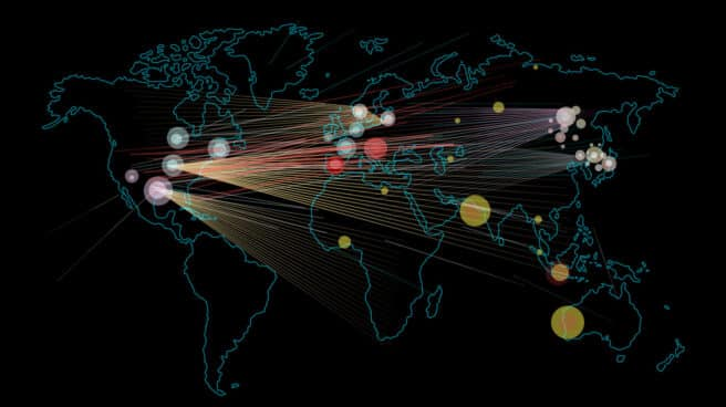 Imagen que representa ciberataques en todo el mundo