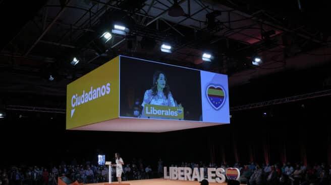 La presidenta de Ciudadanos, Inés Arrimadas, durante el acto de clausura de la convención política del partido.