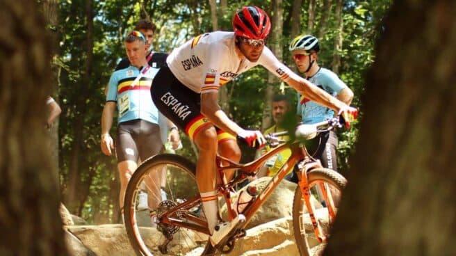 El ciclista de montaña español David Valero, en la prueba de XCO en los Juegos Olímpicos de Tokyo 2020 en la que conquistó la medalla de bronce