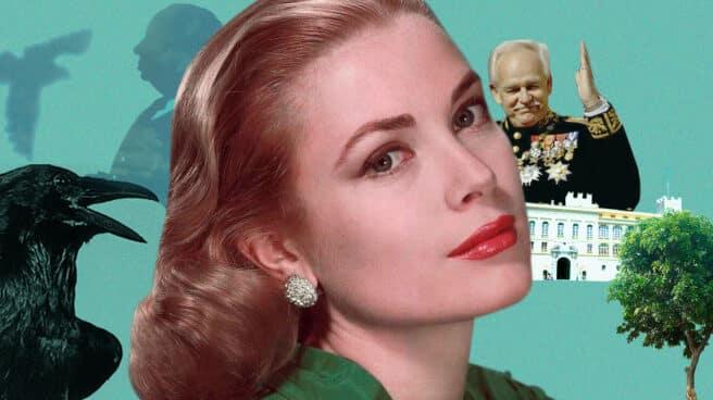 Collage de Grace Kelly, silueta de Hitchcock, y el Principal Raniero III de Mónaco