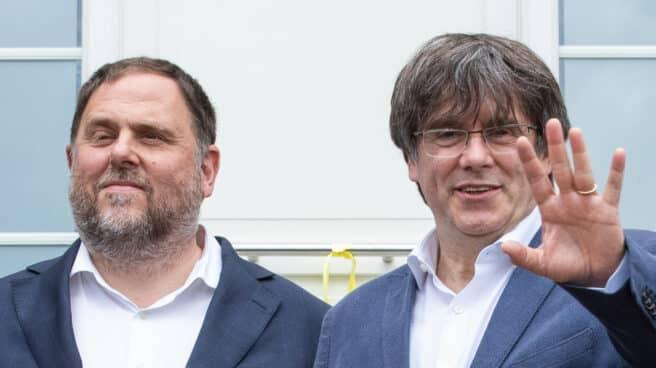 Oriol Junqueras y Carles Puigdemont, en un encuentro reciente en Waterloo (Bélgica).