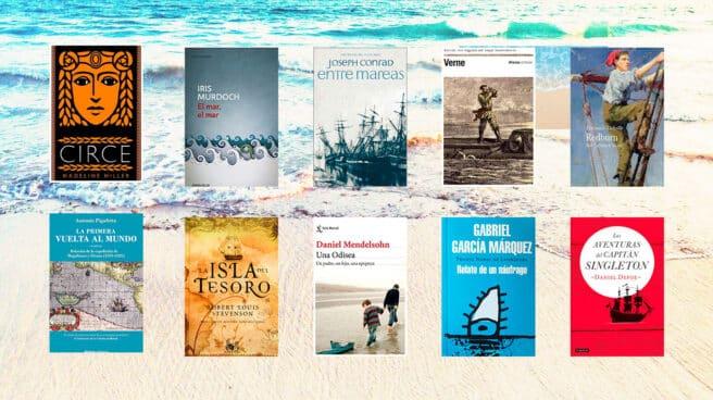 Imagen de portadas de libros relacionados con el mar