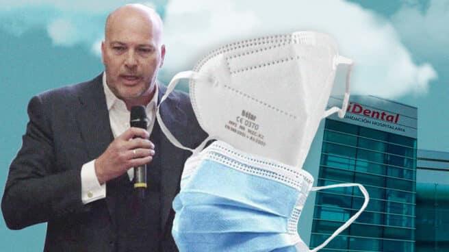 Imagen del cabecilla de iDental Luis Sans justo a dos mascarillas Béjar y una clínica iDental de fondo