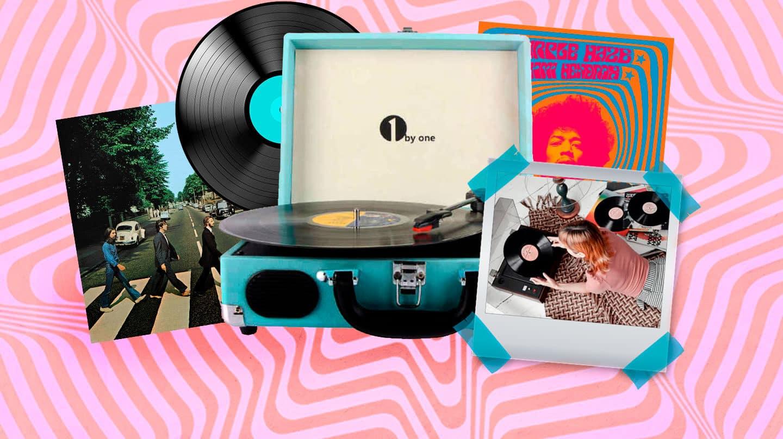 Collage de un tocadiscos antiguo con un disco de The Beatles y otro de Jimi Hendrix