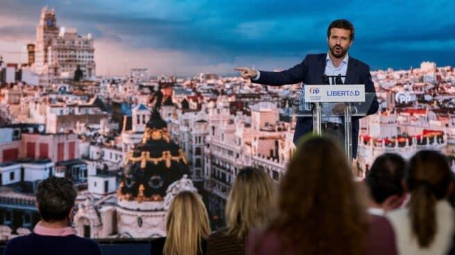 El presidente del PP, Pablo Casado, en un acto de campaña de las últimas autonómicas en Madrid.